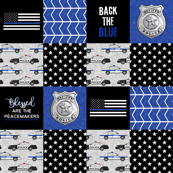 "(3"" small scale)  Police Patchwork - Blessed are the peacemakers - thin blue line - back the blue wholecloth"