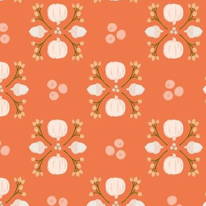Bright Orange Acorn, Cranberry, & Pumpkin Fall Foliage Damask // Sing for Your Supper Modern Farmhouse Collection // Autumn Edition