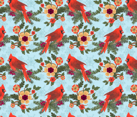 Cardinal Delight - Blue fabric by denise_ortakales on Spoonflower - custom fabric