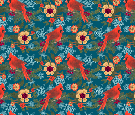 Cardinal Delight-Teal fabric by denise_ortakales on Spoonflower - custom fabric