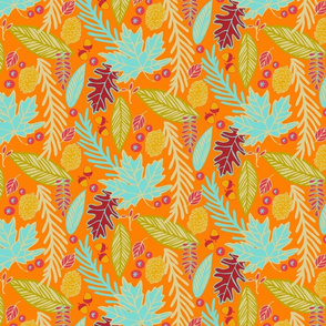 Autumn Leaves in Bright Orange & Teal colors