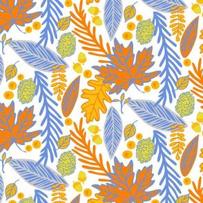 Autumn Leaves in Orange, Blue & White