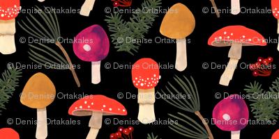 Holiday Mushrooms  -Black