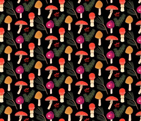 Holiday Mushrooms  -Black fabric by denise_ortakales on Spoonflower - custom fabric