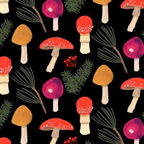 Holiday Mushrooms  -Black