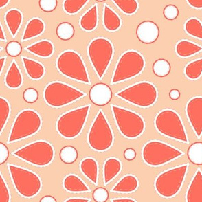 Mid-Century Coral Flowers
