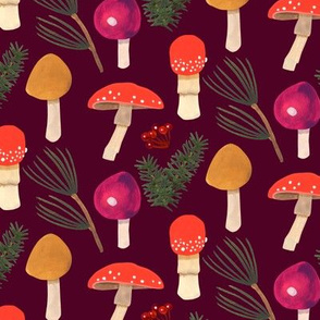 Holiday Mushrooms - Maroon