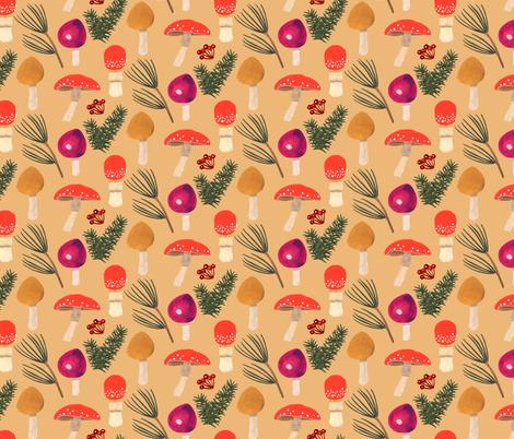 Holiday Mushrooms - Ochre fabric by denise_ortakales on Spoonflower - custom fabric