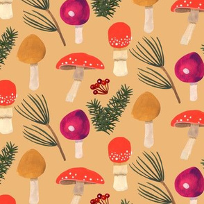 Holiday Mushrooms - Ochre