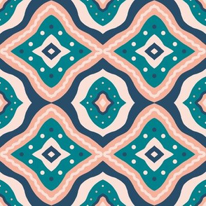 Bird's Eye - Teal/Blush/Navy