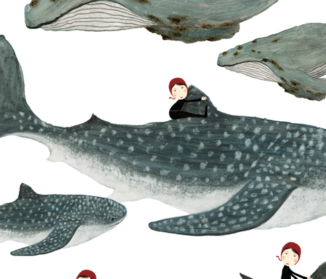 whale rider white background {large} fabric by katherine_quinn on Spoonflower - custom fabric