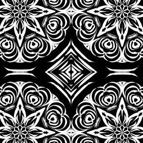 Tribal Star and Diamond Carvings on Deep Black