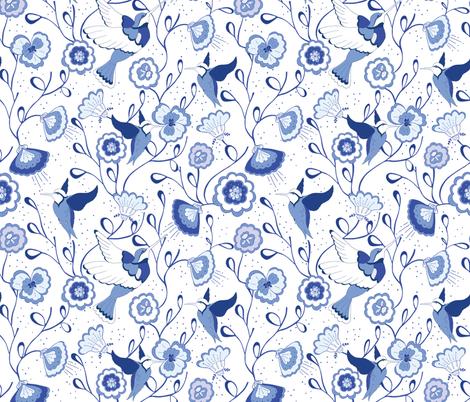 Chinoiserie Honey Bird China Blue  fabric by jac_slade on Spoonflower - custom fabric