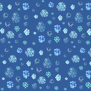 snow flurries on blue