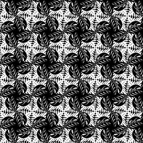 Tropical Leaves Tessellated - Black& White