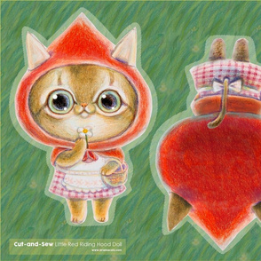 cut-and-sew little red riding hood cat