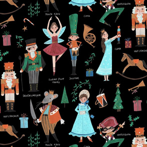 Christmas Nutcracker black // red & green little girls fabric