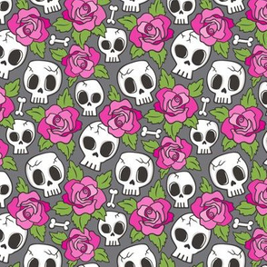 Skulls and Roses  Pink on Dark Grey Smaller 1,5 inch