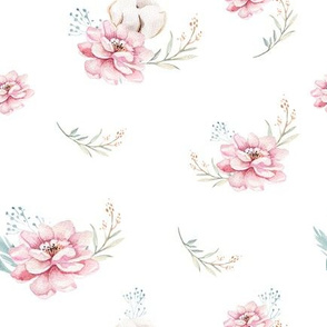 Watercolor floral pattern with blossom flowers