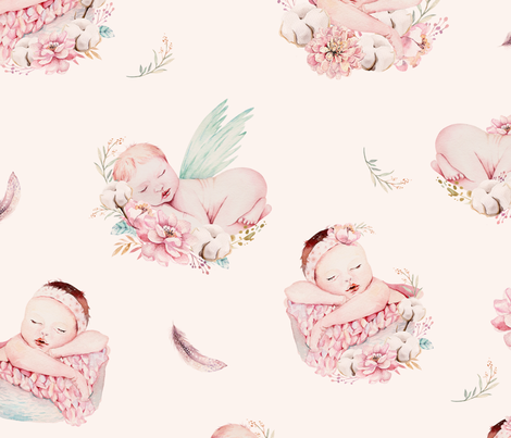 Cute newborn watercolor baby with flowers.  fabric by peace_shop on Spoonflower - custom fabric