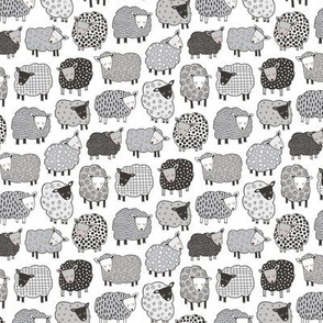 Sheep Geometric Patterned Black & White Grey  on White Tiny Small 1 inch