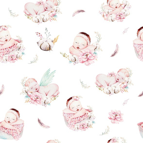 Cute newborn watercolor baby with flowers.