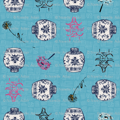 Chinoiserie Ginger Jars with Pink Pagoda