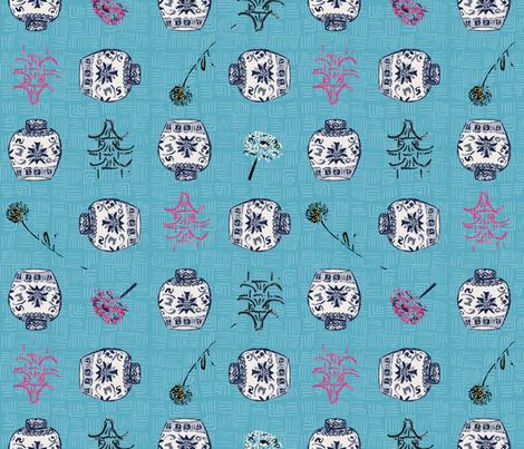 Chinoiserie Ginger Jars with Pink Pagoda fabric by ncxadair on Spoonflower - custom fabric