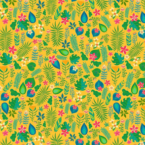Pattern of tropical flowers and leaves