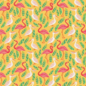 Pink flamingos, pelicans, tropical leaves