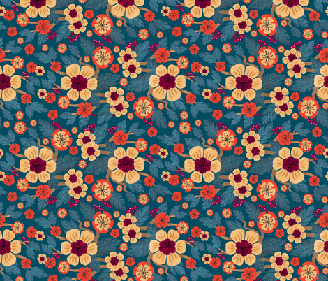 Holiday Spray - Teal fabric by denise_ortakales on Spoonflower - custom fabric