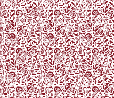 floral winter fox in red fabric by gemmacosgroveball on Spoonflower - custom fabric