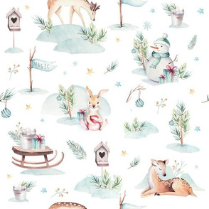 Watercolor new year holidays forest animals: baby deer, bunny, snowman and sled
