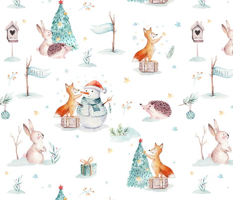 Watercolor winter holiday forest animals:  baby hedgehog, fox, bunny and snowman fabric by peace_shop on Spoonflower - custom fabric