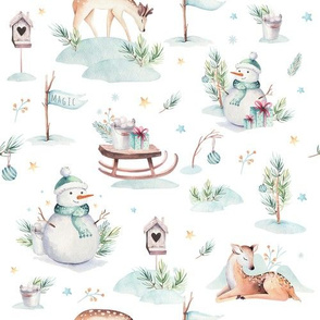 Watercolor christmas holidays forest animals: baby deer, snowman and sled