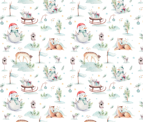 Watercolor new year holidays forest animals: baby deer, snowman and sled  fabric by peace_shop on Spoonflower - custom fabric