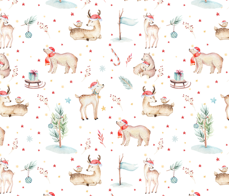 Watercolor magic holiday forest animals: baby deer, bear and bird  fabric by peace_shop on Spoonflower - custom fabric