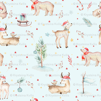 Watercolor magic holiday forest animals: baby deer and bear