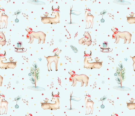 Watercolor magic holiday forest animals: baby deer and bear  fabric by peace_shop on Spoonflower - custom fabric