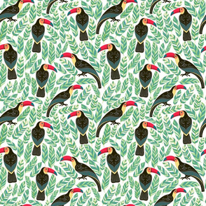 Decorative pattern with toucans