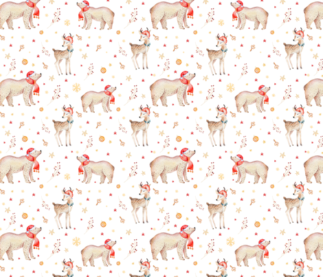 Watercolor magic holiday forest animals: baby deer,bear and snowman  fabric by peace_shop on Spoonflower - custom fabric