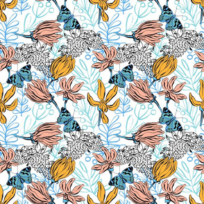 Floral pattern with butterfly