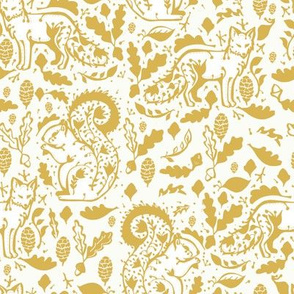 fox floral on yellow // gold