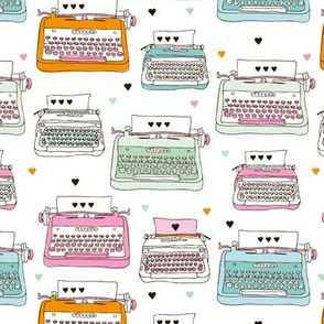 Cute love letter typewriter illustration pattern