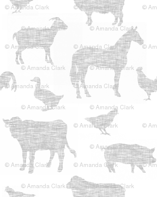 Farm animals - light grey linen on white