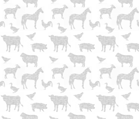 Farm animals - light grey linen on white fabric by sugarpinedesign on Spoonflower - custom fabric