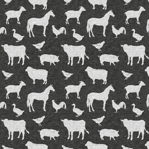 Farm Animals - light grey on black