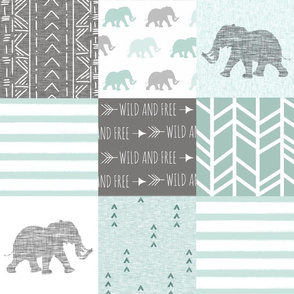 Elephant Walk Quit - sage/grey