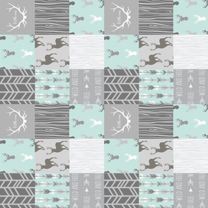"""3"""" wholecloth quilt - whistler village - mint and grey"""