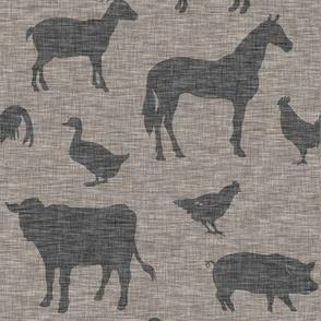 Farm animals - Dark Taupe linen